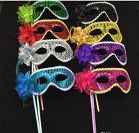 demi-masques colorés achat en gros de-2017 New Venetian Half face Sequins apporté masque de fleur Masquerade Party couleur dessin Sexy Halloween noël danse mariage Party Masque