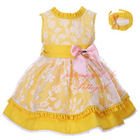 Wholesale Wholesale Easter Boutique - Pettigirl Girl Easter Dress Yellow Cotton Kids Party Dress With Bowknot Hair Decoration Boutique Girls Lace Dress Children Clothing