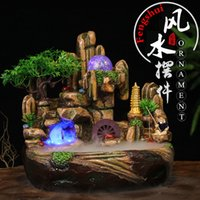 Wholesale Water Fountain Crafts - Chinese Feng Shui Craft Resin Water Fountain Artificial Aromatherapy Landscape Indoor Air Humidifier Desktop Ornaments Home Decoration