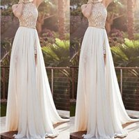 Wholesale Womens Wedding Gowns - Wholesale-Ivory Vintage Womens Formal Prom Evening Dress Bridal Bridemaid Wedding Gowns