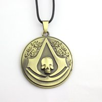 Wholesale Metal Skulls For Sale - Hot Sale Movie Assassins Creed Skull Logo Metal Alloy Pendant Necklaces For Women And Men Pingente Charm Jewelry Best Gifts