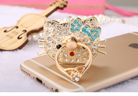 Wholesale Diamond Logo Iphone - Ring ring mobile phone metal band diamond ring buckle custom logo lazy bracket mobile phone bracket