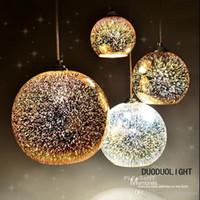 Wholesale Mirror Balls Light Fixture - Free shipping Classic design LED lamp pendant light diameter 20cm 3D colorful Plated Glass Mirror Ball hanging light fixture