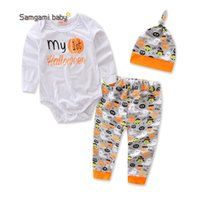 Wholesale Pumpkin Costume Baby - New Cartoon Pumpkin Print Halloween costumes Outfits for Baby My 1st Halloween Infants Onesies With Pant Hat 3Pcs Set 0-2Years 2017