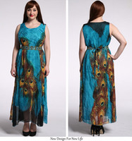 Wholesale Maxi Dresses Peacock Print - Women's Peacock Printed Bohemian Summer Maxi Dress Plus size