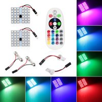 Wholesale Dome Map Interior Light - 4X T10 5050 36SMD 16 Colors RGB LED Panel Car Auto Interior Reading Map Lamp Bulb Light Dome Festoon Remote Controller Flash Strobe