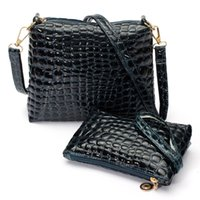 Wholesale Wholesale Quilted Leather - Wholesale-2016 Women Messenger Shoulder Bag Crocodile PU Leather Casual Crossbody Quilted Bags Set Women Clutch Composite Handbags