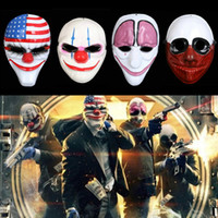 Barato Máscara De Palhaço De Plástico Halloween-Hot Halloween Clown Mask Game Payday 2 Chains Dallas Wolf Hoxton Costume Dress Props Cosplay Party Mask Máscara de plástico IB321