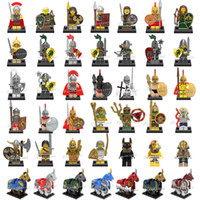 Wholesale Mixed Horse - 120pcs lot Mix Order Medieval Figures Atlantis Viking Egyption Warriors Dragon Knights Spartacus Armored Horse Mini Building Blocks Figure