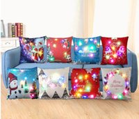 Wholesale Light Up Pillows - Merry Christmas Flashing Pillow Case 45*45cm LED Light Pillows Cushion Cover Light Up Pillowcase Car Home Sofa Christmas festival Decoration
