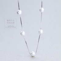 Wholesale Valentine Gift For Engagement - Free shipping for charm pearls necklace S925 sterling silver necklace female anti allergy Valentine Day gift birthday gift to send girl