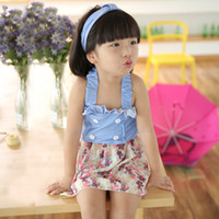 Wholesale Korean Suit For Kids - Korean Girls Swim Suits Floral Two-Pieces With Headband 3pcs Sets Cute kids Hot Spring Denim Swimwear Set For Princess Girl Swim Set A6374