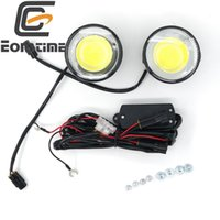 Eonstime 12V / 24V 2pcs DRL Ultra Brilhante rodada 8W COB LED Eagle Eye Car Fog DRL Luzes Diurnas LED Trabalho ATV Eagle Eye IP67