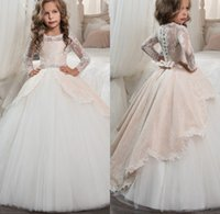 Wholesale Girls Pageant Dreses - 2018 Princess Long Sleeves Lace Holy Communion Dresses Girls Pageant Ball Gown Vintage Flower Girls Dreses Vestidos De