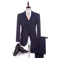 vestido de casamento rosa menino venda por atacado-New 4 cores de alta qualidade lã penteada azul marinho ternos dos homens ternos terno adaptado terno de casamento fino terno para homens (jaqueta + calça + colete)