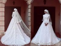 vestidos florales en linea al por mayor-Vestidos de novia modestos de encaje Hijab 2017 Vestidos de boda de tren alto barrido musulmanes de manga larga blancos Vestidos de boda de tren por encargo Vestidos en línea