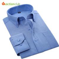 Wholesale Men Button Down Shirts Wholesale - Wholesale- ACTIONCLUB 19 colors Long Sleeve Button-Up Neck Men Dress Shirts Solid Striped Fashion Oxford Formal Men Casual Business Shirts
