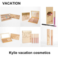 Wholesale Glitter Lip Gloss Wholesale - Kylie Jenner Vacation Cosmetics Matte & Velvet Liquid Lipstick Super Glitter Gloss Lip Kit Face Duo Pressed Illuminating Powder DHL free
