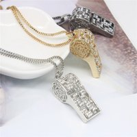 Wholesale Halloween Whistle - 2017 New Necklaces & Pendants Long Alloy Whistle Pendnats Statement Necklaces For Women Party Gift Vintage Necklace