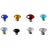Vente en gros - 1pc / lot 31mm Diamant Crystal Glass Alloy Door Drawer Cabinet Wardrobe Pull Handle Knobs New YL874052