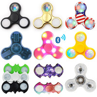 Wholesale Usa Crystal Lighting - LED Bluetooth Light crystal tHand Spinners Fidget Spinner EDC Triangle USA Flag Fingers Anxiety spinning top Toys HandSpinner in retail box