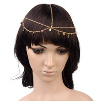 2Pcs Bohemian Women Circle Drop Head Chain Jewelry Forehead Dance Hair Chain Gold Tone Headpiece Hair Band Free Ship