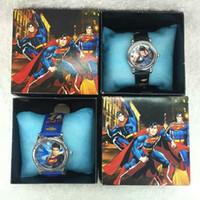 Wholesale W7 Battery - Wholesale Cartoon Superman kids boys girls children cartoon quartz Children Wristwatch Watches With Boxes Party Favors Gift W7