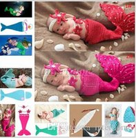 Wholesale Newborn Photography Outfits - Baby Shower Crochet Mermaid Swaddles Knit Costume Wraps Newborn Blankets Baby Photography Props Diamond Headband 3PCS set Outfit A1161 10