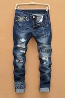 ingrosso pantaloni di hip hop del cranio-Wholesale-Mens jeans strappati maschio nuova pista sottile denim dei pantaloni del motociclista jeans slim hip hop lavati Stampato Skull blue jeans per gli uomini