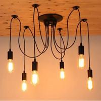 Wholesale Antique Art Deco - Modern Nordic Retro Edison Chandelier Lighting Vintage Loft Antique Adjustable DIY E27 Spider Pendant Hanging Lamp Home Lighting