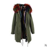 Wholesale Genuine Fur Trimmed Coats - JAZZEVAR fashion rabbit fur Long armt green parkas winter snow coats Spliced Multicolour fur winter fur parkas