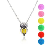 Owl Design Lockets Bead Cage Aromatherapy Pendants Perfume Essential Oil Diffuser Locket Necklace Jóias Gift for Women