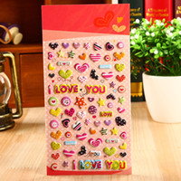 Wholesale Love Heart 3d Stickers - Wholesale- Cartoon 3D Bubble Sticker I Love You Romantic Heart Shape Toy Papeterie Pegatinas Etiket Autocollants School Supplies Stationery