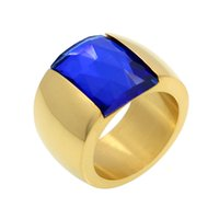 Wholesale Austrian Green Crystals Rings - Fashion Brand Stainless Steel Ring For Women Austrian Crystal Blue Green Red Stone Ring Gold Color Female Wedding Ring Band
