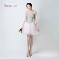 Wholesale Hot Mini Skirt Party - Sweetheart Off Shoulder Prom Dresses 2017 with Beaded Crystal Mini Skirts Evening Gowns Free Shipping Hot Sale