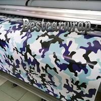 pvc-beschichtung wasserdicht groihandel-Weiß Blau Schnee Camo Vinyl Truck / Car Wrap Mit Luftblase frei Wasserdichte Beschichtung Wrap Cover Aufkleber Skins Größe 1.52x10m / 20m / 30m