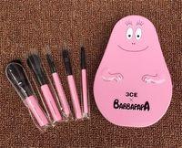 Wholesale Mini 5pcs Makeup Brush Set - So cute 3CE X BARBAPAPA Makeup Brushes Kit 5pcs set With Metal Case Mini Pink Brush professional Makeup Tools Free Shipping