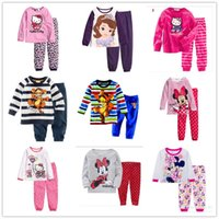 Wholesale Princess Pyjamas - Girls Boys Baby Mickey Minnie Mouse Princess Sofia Hello Kitty Pajamas sets children Boy's Girl's cartoon pyjamas kids sleepwear homewear