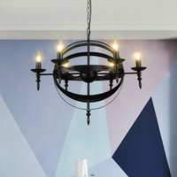 Wholesale Fluorescent Light Globe - American Black Pendant Lamps European Retro Pendant Lights Fixture Vintage Industrial Droplight Round Globe Home Indoor Lighting Dia65cm