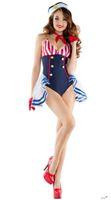 sıcak donanma kıyafeti toptan satış-2017 sıcak !! Seksi Donanma Skimpy Sailor Kostüm Donanma Denizcilik Teddy Bodysuit Lingerie