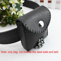 Wholesale Slingshots Pouch - 1Pc Black Leather Hunting Slingshot Stainless Steel Balls Bag Case Holster Slingshot Accessories Pouch Magnetic Bag for Catapult