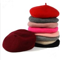 Wholesale Formal Tops For Ladies - New Fashion 100%Women Adjustable Winter Wool Solid Berets Beanie Flat Cap High Quality Painter Hat For Lady 10pcs lot
