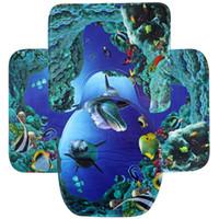 Wholesale Cotton Lid Covers - Wholesale- Flannel Blue Sea Theme Dolphin Shark Bathroom Mat Set 3 Pc Bathroom Carpet Pedestal Lid Mat Toilet Cover Set