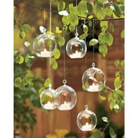 Wholesale Glass Ball Flower Decorations - 10PCS Ball Globe Shape Clear Hanging Glass Vase Flower Plants Terrarium Vase Container Micro Landscape DIY Wedding Home Decoration