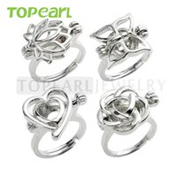 Wholesale Pearl Cages Jewelry - WG41 Teboer Jewelry 10pcs Wholesale Rings Wish Love Pearl Cage Ring Lotus Butterfly Heart Rose Cages Mixed Designs