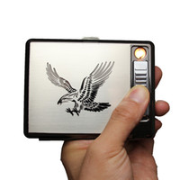 Wholesale Laser Lighter Wholesale - New Design Eagle USB Rechargeable Electric Cigarettes Lighter 20 Cigarettes Case Box Stainless Steel with Gift Box