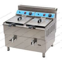 Wholesale Food Gas - 2017 NEW 34L Double Tank Professional Kitchen Equipment Double Tanks Gas Industrial Deep Fryer FREE SHIPPING MYY