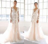 Wholesale Wedding Dress Flower Neck - Marchesa 2017 3D Floral Long Sleeve Beach Wedding Dresses Cute Handmade Flower V-neck Full length Dubai Arabic Bridal Dress Plus Size
