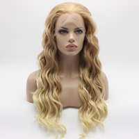 Wholesale long heavy hair - Iwona Hair Wavy Long Honey Blonde Root Light Blonde Ombre Wig 6#C105 Half Hand Tied Heavy Density Synthetic Lace Front Wigs