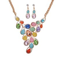 Wholesale opal bridal set - New Arrived Gold Plated Crystal Opal Bridal Flower Earring Necklace set for women Wedding Engagement Teardrop Jewelry Sets Drop Shipping